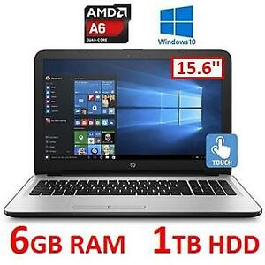 NEW OB HP TOUCHSCREEN NOTEBOOK PC - 130050012 - 15.6'' AMD A6-7310 6GB RAM 1TB HDD WINDOWS 10 LAPTOP NEW OPEN BOX PRO...