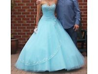 Prom/ formal dress - worn once ! Aqua colour, delicate beading, with corset back