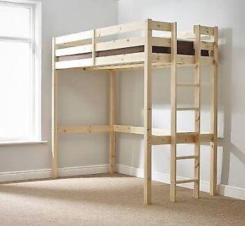 Single bunk bed (high sleeper) solid pinewood