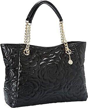 Big Buddha Handbag Quilted Flower Design Gold Chain Strap Black Tote