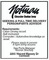 Seeking a Full Time  Parts Advisor / Delivery Person