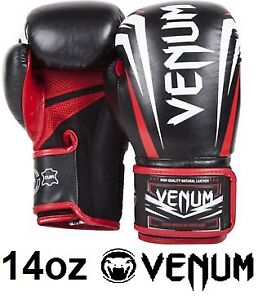 NEW VENUM 14OZ HIGH QUALITY NATURAL LEATHER BOXING GLOVES