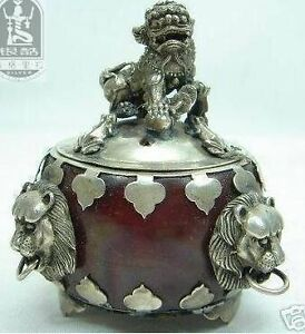 Beautiful Tibet silver red jade carved lion censer