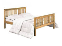Solid, waxed, pine bed, double, with, memory foam mattress, king size, under clearance for storage