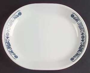"""496-Corelle 12"""" Oval Serving Platter in Old Town Blue $15.00"""