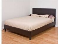 *7-DAYS MONEY BACK GUARANTEE* DOUBLE FAUX LEATHER BED FRAME & CHOICE OF MEMORY FOAM ORTHO MATTRESSES