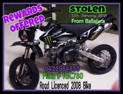 STOLEN - Road Licenced 2008 Motorbike