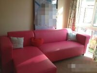 Pink leather corner sofa £200