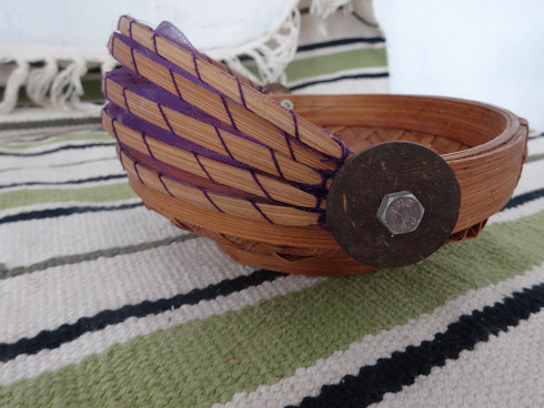 Indonesia Hand Craft Basket with cover Net - 60-70s