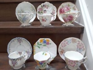 6 Collectible vintage teacups, interesting shapes, from England