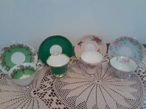 """4 Collectible vintage teacups from England and """"Occupied Japan"""""""