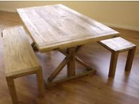 Stunning Rustic Elm Kitchen Dining Table & 2 Benches - Delivery