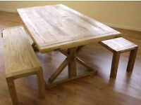 Stunning NEW Rustic Elm Kitchen Dining Table & 2 Benches Hardwood - Uk Delivery