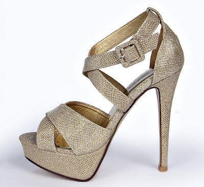 Shimmer Cross Strap Heels
