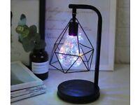 Retro Black Geometric Wire Industrial LED Light, Lamp , Battery Operated, EDGWARE HA8