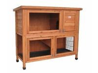 RABBIT HUTCH Bunny Business Double Decker Rabbit/ Guinea Pig Hutch, 41-inch wide