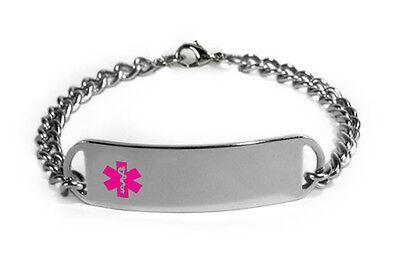 Medical Medical Id Bracelet - Medical Alert ID Bracelet with Pink emblem D-Style. Free engraving, medical Card