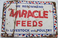 RARE VINTAGE MIRACLE FEEDS PORCELAIN SIGN FOR SALE