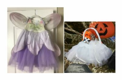 NWT POTTERY BARN PAPER FLOWER FAIRY LAVENDER PURPLE 4-6 COSTUME/WHITE TREAT BAG
