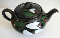 VINTAGE ELECTRIC TEAPOT CANADIAN ART POTTERY HAND PAINTED