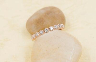 (Diamond Half Eternity Ring.Bezel Round Diamond Wedding Band.Matching Dainty Band)