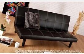 Dark brown leather inline 3 seater sofa bed