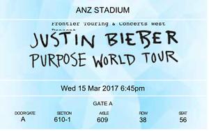 Justin Bieber Tickets in Sydney ANZ Stadium Sydney City Inner Sydney Preview