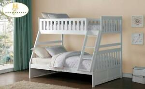 White single double solid wood bunk bed, in stock