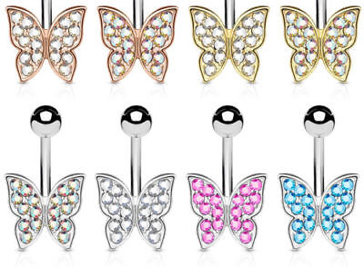 - Crystal Paved Butterfly Belly Ring 316L Surgical Steel Navel Naval
