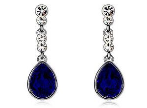 Sapphire Royal Dark Blue Tear Drop Wedding Party Evening Dangle Earrings E605