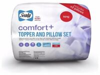 A New Factory Sealed Sealy Fibre Filling Kingsize Comfort Plus Topper And Pillow Set