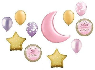 Twinkle Little Star Pink Moon Baby Girl Shower Party (11) Mylar & Latex Balloons](Star Latex Balloons)