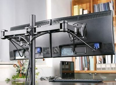 Double 2 Desktop Computer Monitor Desk Mount Stand Tilt Rotate Screen Clamp Dual Dual Monitor Stand Desk Clamp