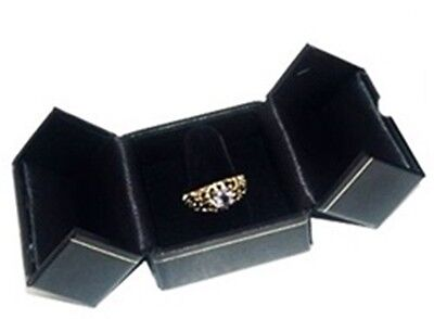 Lot Of 24 Black Double Door Ring Finger Jewelry Display Packaging Gift Boxes