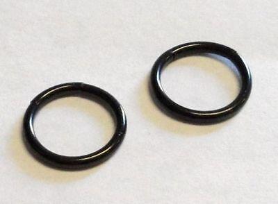Black Titanium Segment Rings - Black Titanium Segment Seamless Hoops Rings No Ball 14g 14 gauge 8mm 5/16 inch