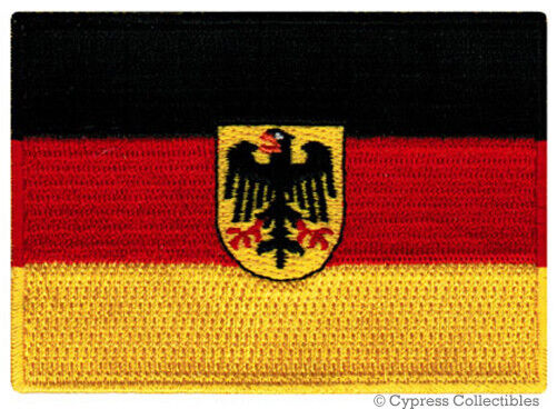 GERMAN FLAG iron-on PATCH GERMANY BUNDESDIENSTFLAGGE embroidered Deutschland NEW