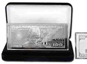 2018 PROOF 4 oz CURRENCY SILVER BAR FRANKLIN $100 + VELVET BOX + AIR-TITE + COA