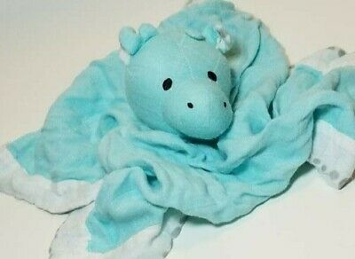 Aden + Anais Giraffe Lovey Security Blanket Musy Mate Aqua Blue White Bamboo