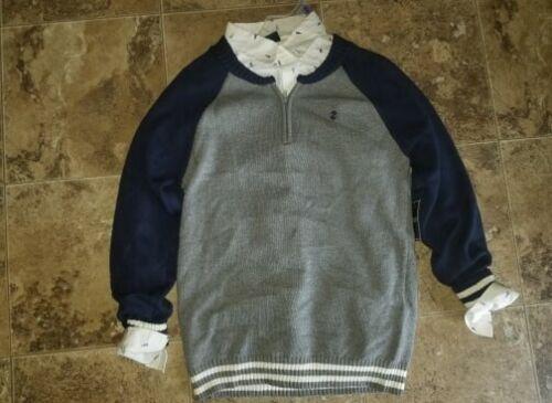 Nwt Boys Izod 2 Piece Sweater Dress Shirt Long Sleeve Blue White 1/4 Zip XS 4 5