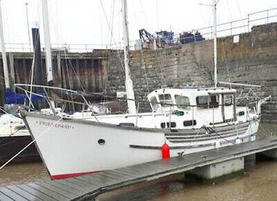 1979, 9m, Colvic Watson Motorsailer. Long keel (no bilge keels), ketch rigged.
