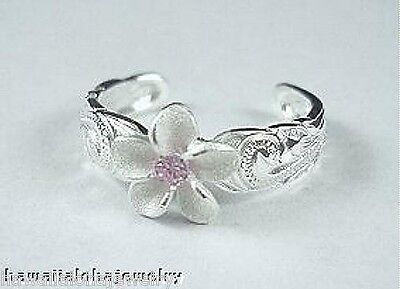 9mm Solid 925 Sterling Silver Matted Hawaiian Plumeria Pink CZ Heritage Toe Ring