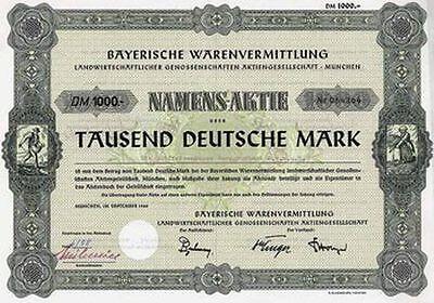 Baywa Bayerische Warenvermittlung AG München DM Aktie 1960 Landwirtschaft Bayern