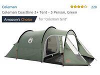 Brand New - Coleman Coastline 3+ Tent - 3 Person, Green