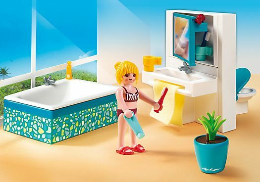 BNIB Playmobil 5577 MODERN BATHROOM set Dollhouse Furniture Made in Germany