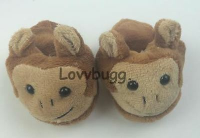 "Lovvbugg  Monkey Slippers for 18"" American Girl Doll Clothes Shoes"