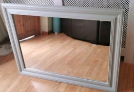 Large grey solid wood mirror