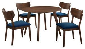 Rosie Light Walnut Dining Table With 4 Side Chair Blue or Green
