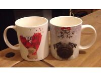 2x pug mugs