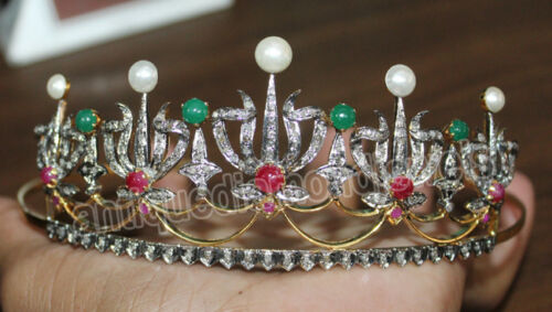 6.84ct ROSE CUT DIAMOND EMERALD RUBY PEARL VICTORIAN LOOK 925 SILVER HAIR TIARA