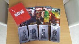 Eaglemoss Marvel Movie Figurine Collection Issues 56-59 plus tin box. Thor Avengers Skurge Hogun
